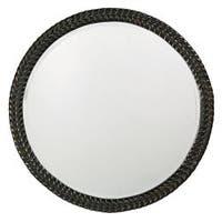 Amalie Black Herringbone Round Mirror - Antique Black