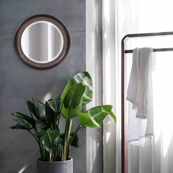 Wales Bronze Resin Ribbed Wall Mirror