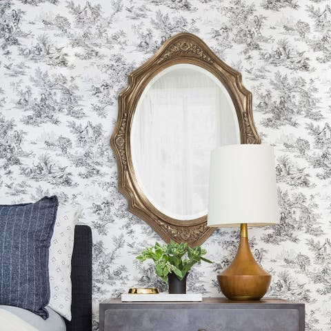 Tracy Silver Wood Oval Wall Mirror