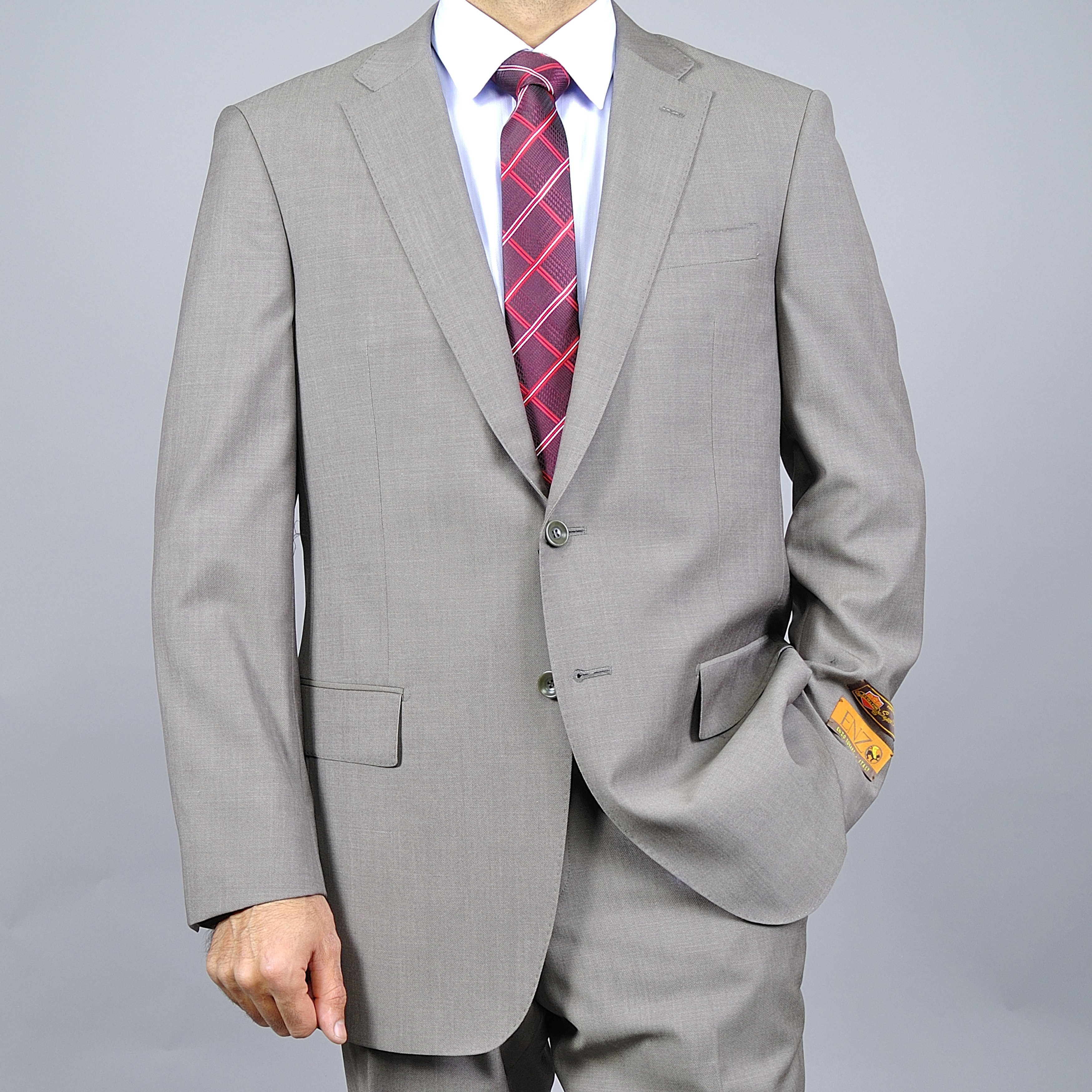 Men's Medium Taupe Wool Suit