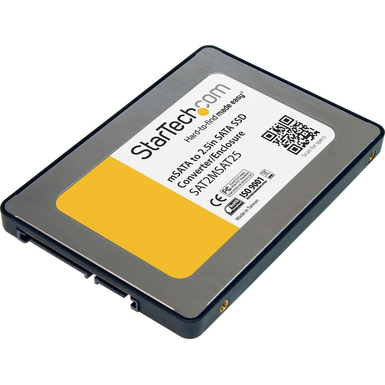 Startech 2.5in Sata to Mini Sata SSD Adapter Enclosure, M...