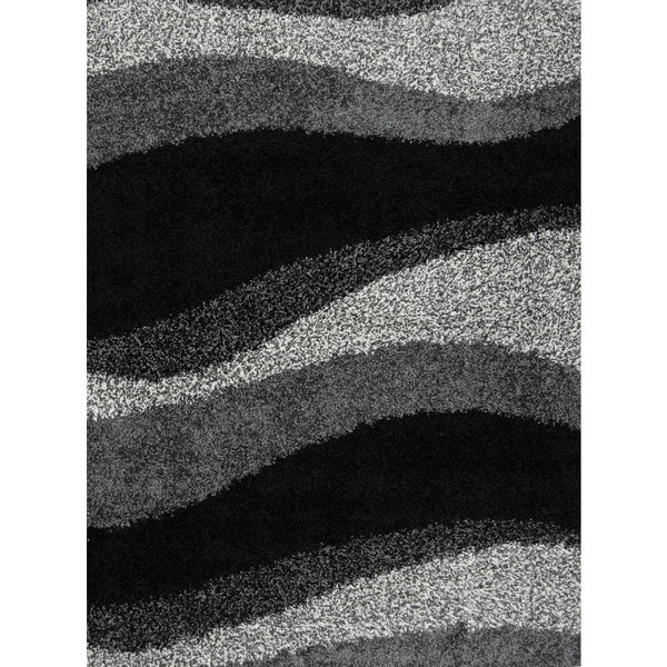 Home Dynamix Synergy Collection Black-Grey Machine Made Polypropylene Area Rug (4'9 x 6'6)