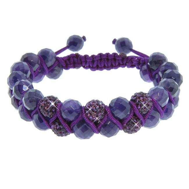 Eternally Haute Amethyst Gemstone and Amethyst Purple Crystal Friendship Macrame Bracelet