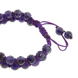 Eternally Haute Amethyst Gemstone and Amethyst Purple Crystal Friendship Macrame Bracelet - Thumbnail 1