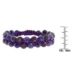 Eternally Haute Amethyst Gemstone and Amethyst Purple Crystal Friendship Macrame Bracelet - Thumbnail 2