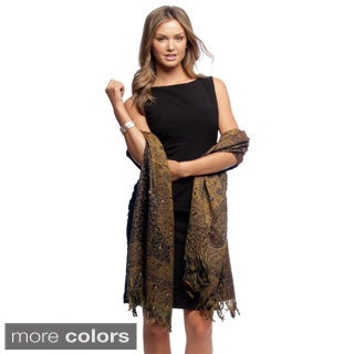 Selection Privee Paris 'Carla' Paisley Sequined Embroidered Wool Wrap Scarf