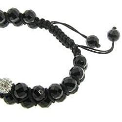 Eternally Haute Black Onyx Gemstone and White Crystal Friendship Macrame Bracelet - Thumbnail 1
