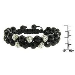 Eternally Haute Black Onyx Gemstone and White Crystal Friendship Macrame Bracelet - Thumbnail 2