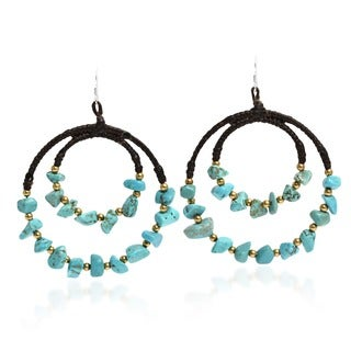 Handmade Blue Moon Fantasy Sterling Silver Turquoise Hoop Earrings (Thailand)