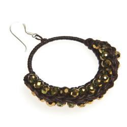 Cotton Rope Gold Moon Crystal Hoop Earrings (Thailand)