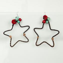Handmade Mystic Star Coral and Turquoise Brass Earrings (Thailand) - Thumbnail 1