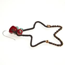 Handmade Mystic Star Coral and Turquoise Brass Earrings (Thailand) - Thumbnail 2