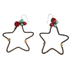 Handmade Mystic Star Coral and Turquoise Brass Earrings (Thailand)