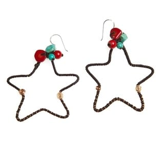 Mystic Star Synthetic Coral-Turquoise Brass .925 Silver Earrings