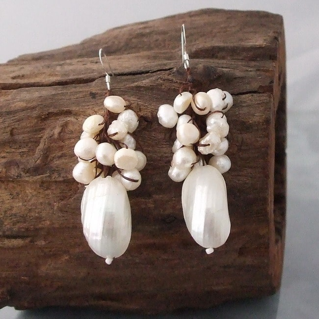 Cluster White Pearl Candy Shell Dangle Earrings (Thailand)