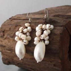 Cluster White Pearl Candy Shell Dangle Earrings (Thailand) - Thumbnail 1