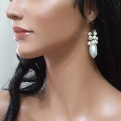 Cluster White Pearl Candy Shell Dangle Earrings (Thailand) - Thumbnail 2