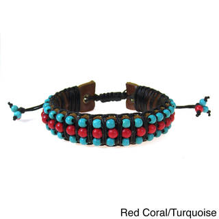 Handmade Red Coral or Pearl and Turquoise Leather Bracelet (Thailand)