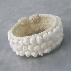 White Mother of Pearl Bead Cotton Rope Cuff Bracelet (Thailand)