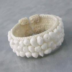 White Snow Quartz Bead Cotton Rope Cuff Bracelet (Thailand)