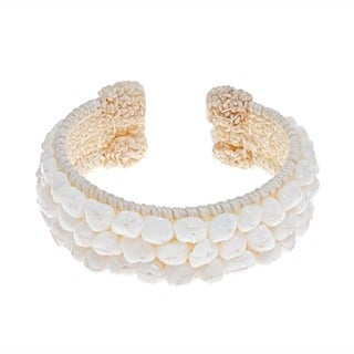 Handmade White Snow Quartz Bead Cotton Rope Cuff Bracelet (Thailand)