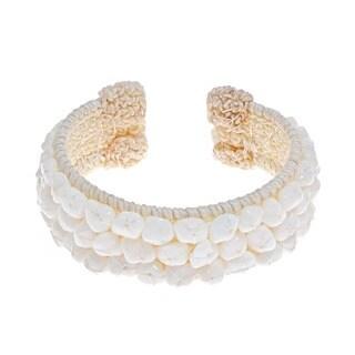 Handmade White Snow Quartz Bead Cotton Rope Cuff Bracelet (Thailand)