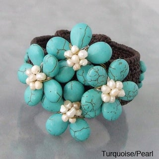 Handmade Turquoise and Red Coral Floral Cuff Bracelet (Thailand)