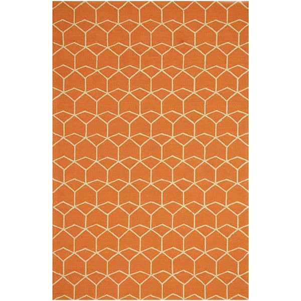 Abstract Outdoor Hand-hooked Rug (2' x 3')