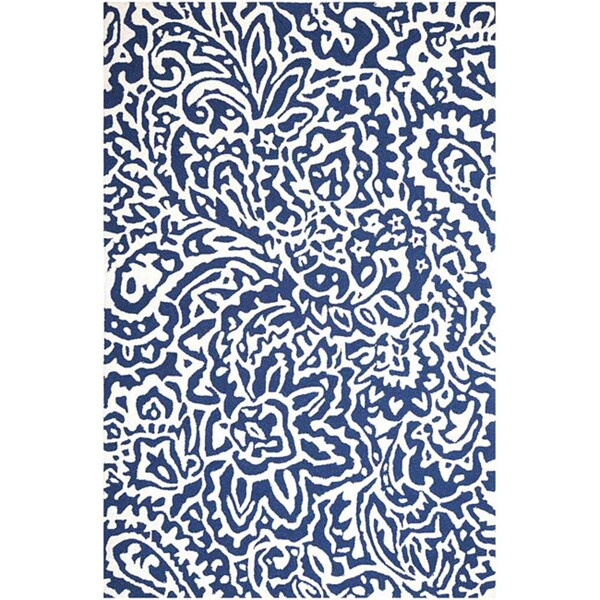 Hand-Hooked Blue/ White Area Rug (5' x 7'6)