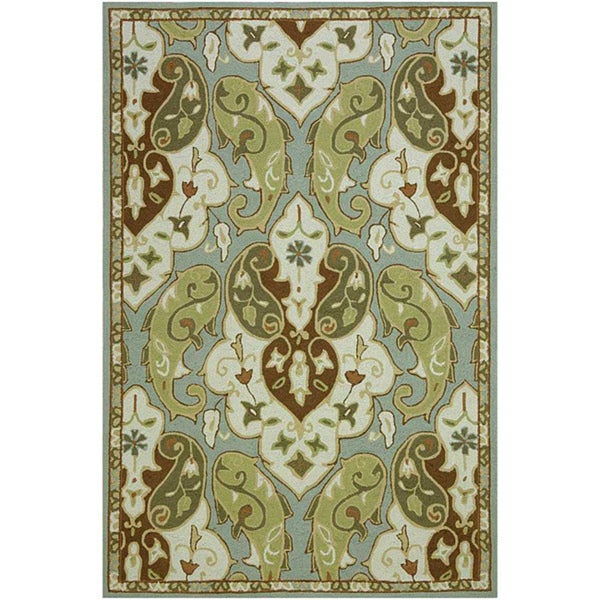Hand-Hooked Green/ Brown Rug (5' x 7'6)