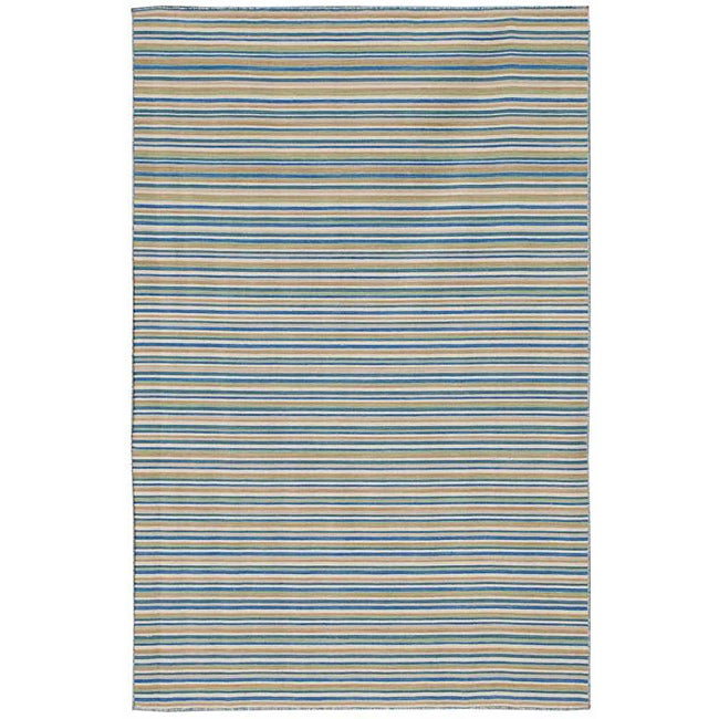 Flat Woven Blue Striped Wool Rug (9' x 12')