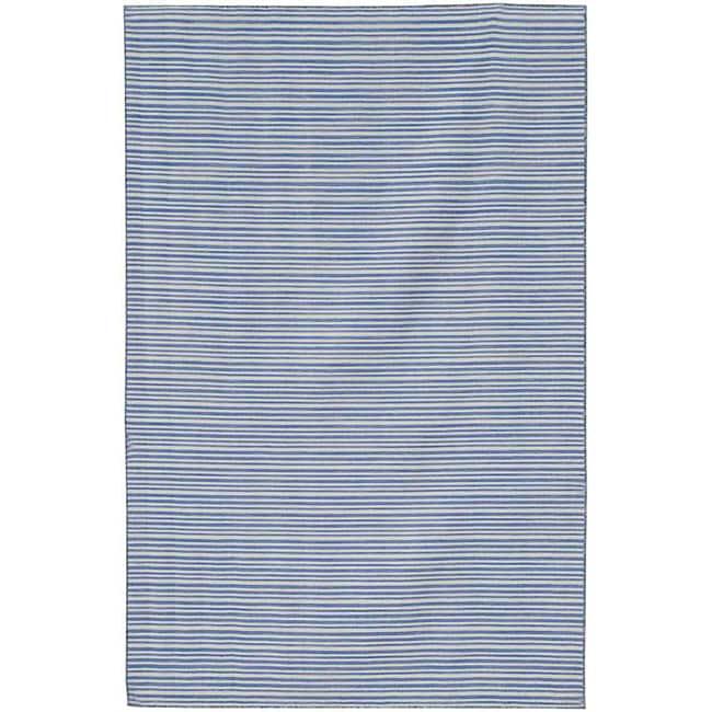 Flat Woven Blue Striped Wool Rug (4' x 6')
