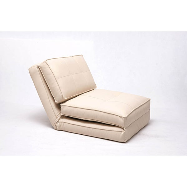 Baltimore Cream Faux Leather Convertible Chair Bed