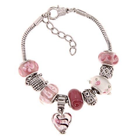 La Preciosa Silverplated Pink and White Glass Bead Charm Bracelet
