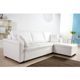 Charlotte White Faux Leather Convertible Sectional Sofa Bed