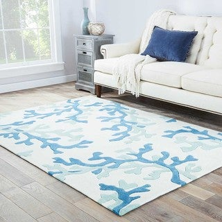 """Coral Sea Handmade Abstract White/ Blue Area Rug (5' X 7'6"""")"""