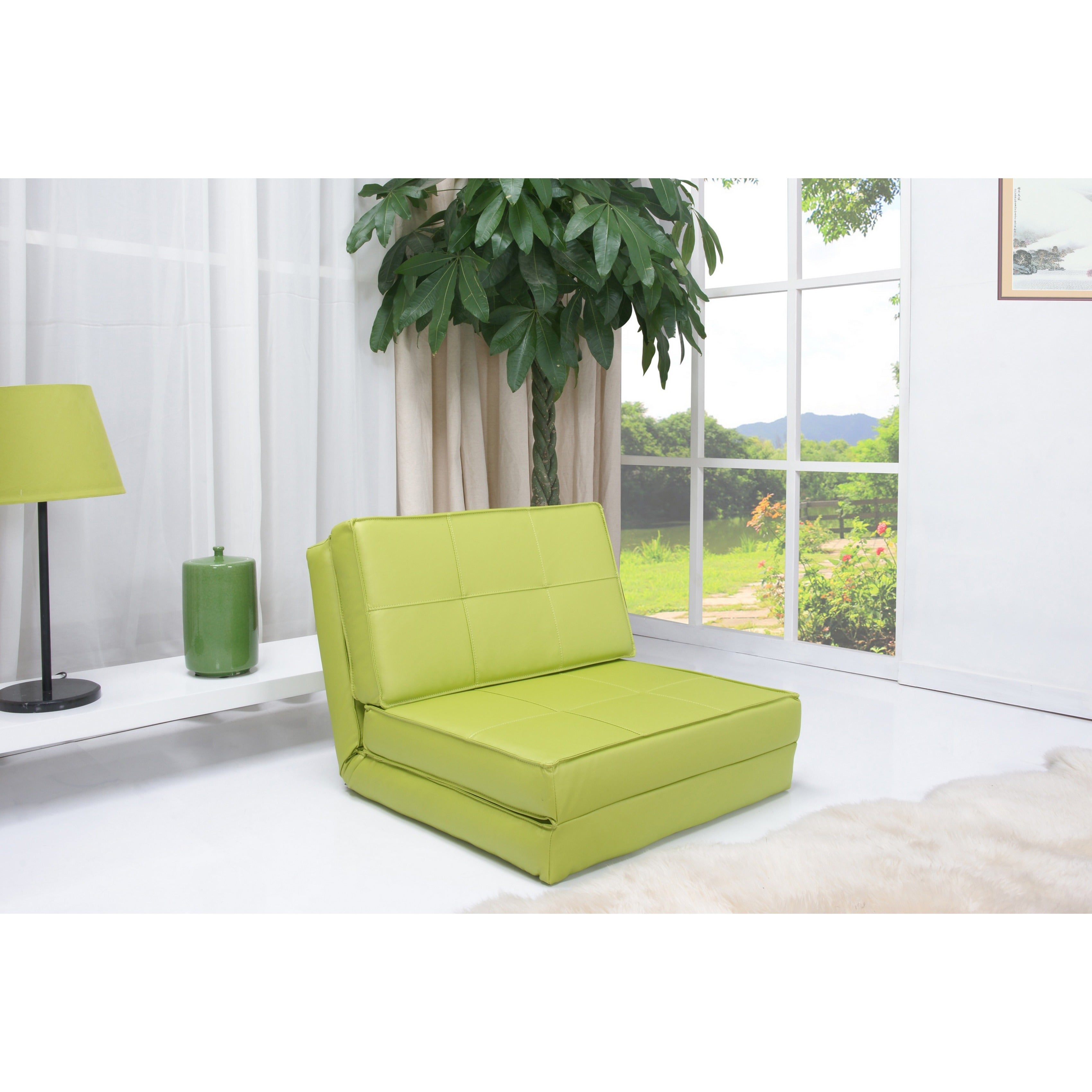 Gold Sparrow Baltimore Green Convertible Chair Bed (Leather)