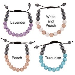 La Preciosa 10-mm Crystal and Hematite Bead Macrame Bracelet