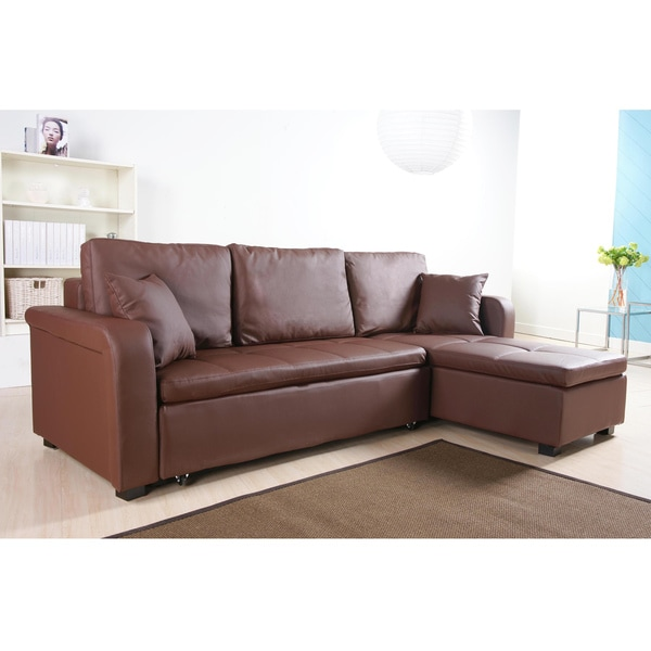 Charlotte Coffee Brown Faux Leather Convertible Sectional Sofa Bed