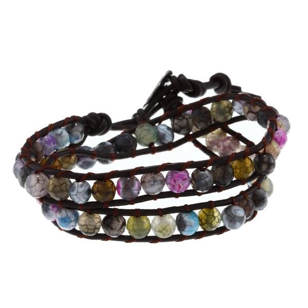 La Preciosa Stainless Steel Leather Cord Wrap Bracelet