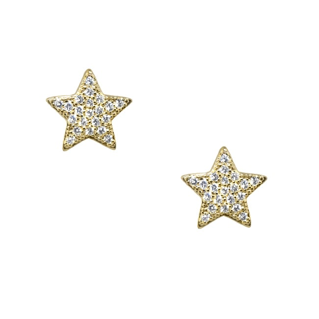 Sterling Silver and 14k Gold Clear Cubic Zirconia Big Star Stud Earrings