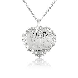 La Preciosa Sterling Silver 'Daddy's Little Girl' Heart Charm Necklace