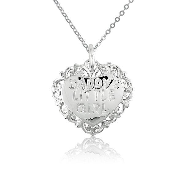 La Preciosa Sterling Silver 'Daddy's Little Girl' Heart Charm Necklace