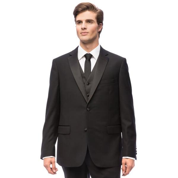 Mens Black 2-button Vested Wool Tuxedo
