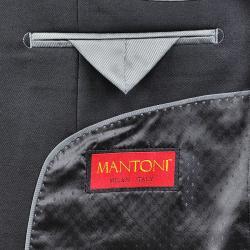 Men's Solid Black 3-button Vested Wool Suit