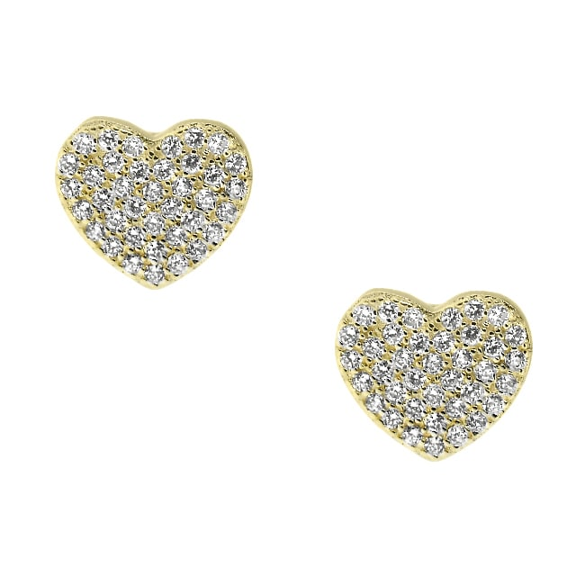 Sterling Silver and 14k Gold Big Heart Clear Cubic Zirconia Stud Earrings