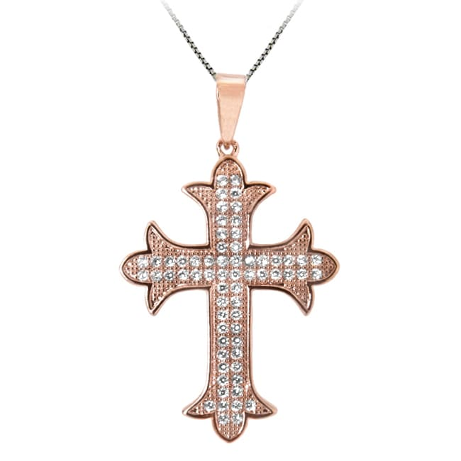 Sterling Silver and 14k Rose Gold Clear Cubic Zirconia Cross Necklace