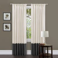 Clay Alder Home Manhed White/ Black 84-inch Faux Silk Curtain Panels (Set of 2)