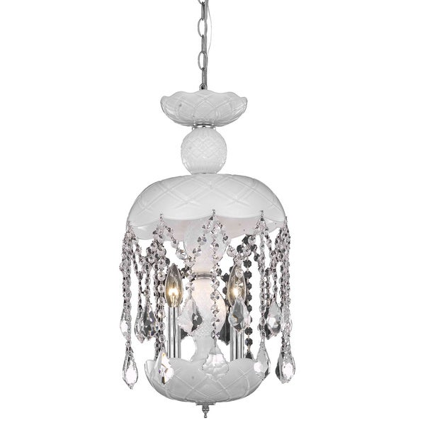 Somette White 3-Light Chandelier