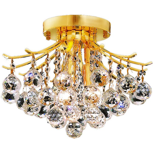 Somette 3-light Goldtone Flush-Mount Chandelier